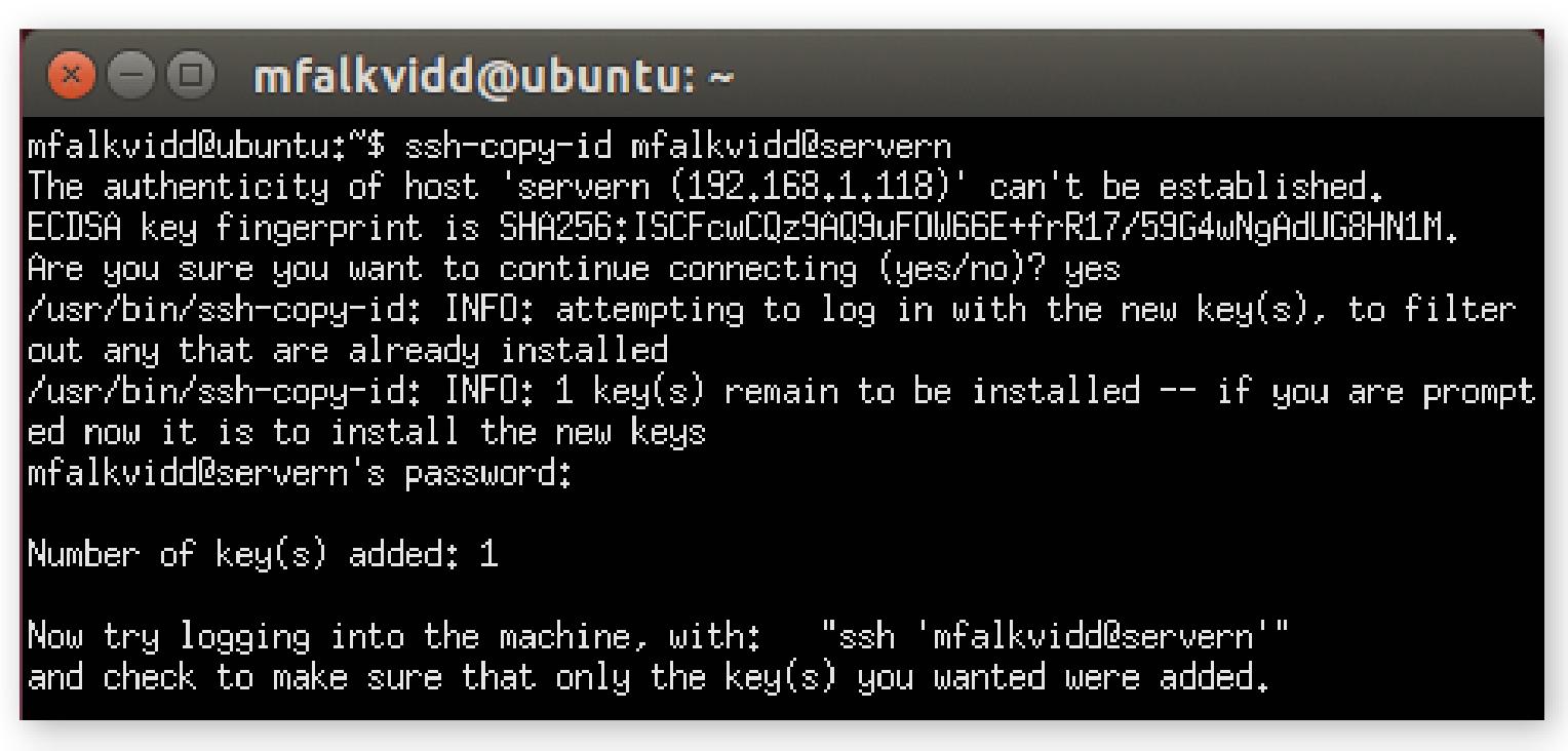 Tips på ett verktyg som enkelt låter dig installera nycklar på andra datorer: ssh-copy-id.