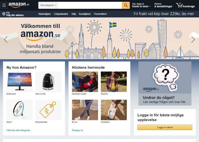 Svenska Amazons hemsida