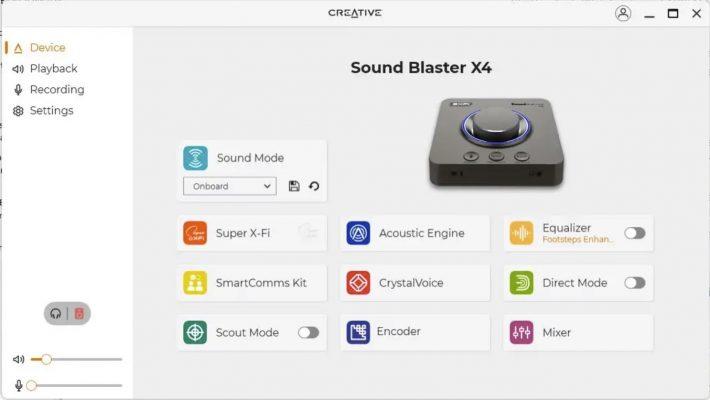Creative Sound blaster X4 – gränssnitt
