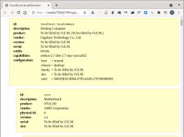 Utmatningen från lshw sparas som Html och visas i en webbläsare.